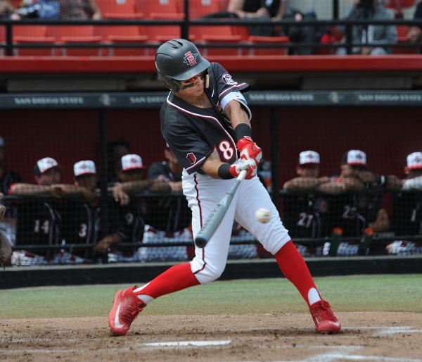 Tyler Adkison of SDSU baseball swings away (GoAztecs.com)