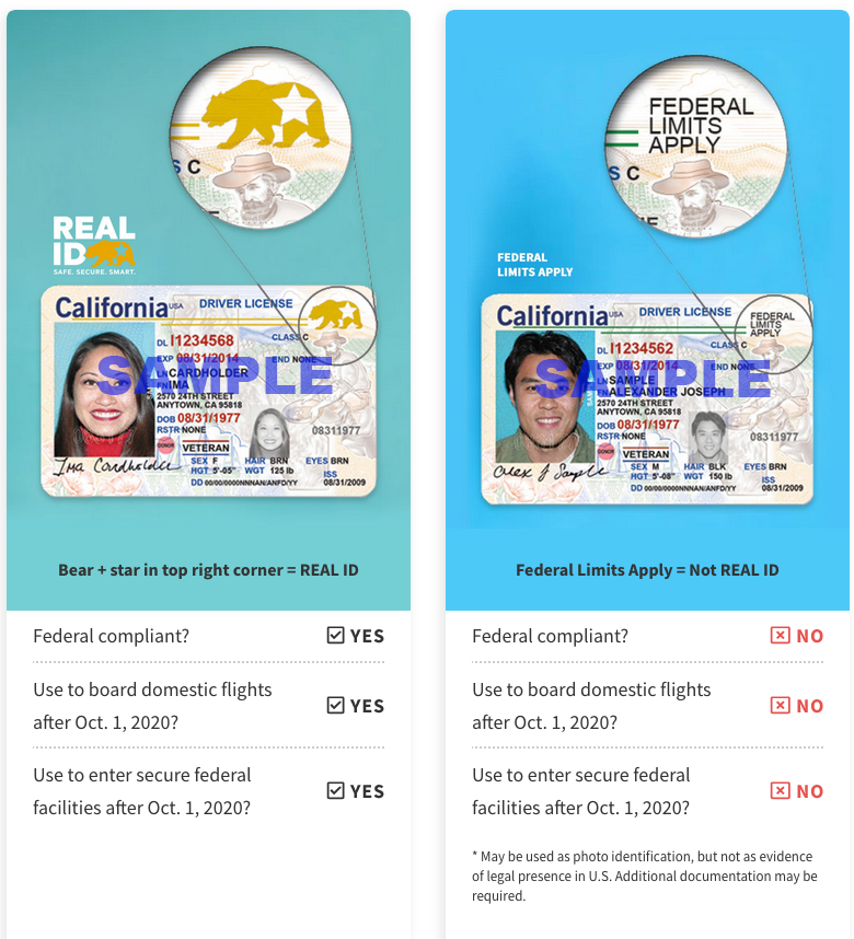 """REAL ID"" sample and ""Federal Limits Apply"" sample I.D. Cards from the California Department of Motor Vehicles."