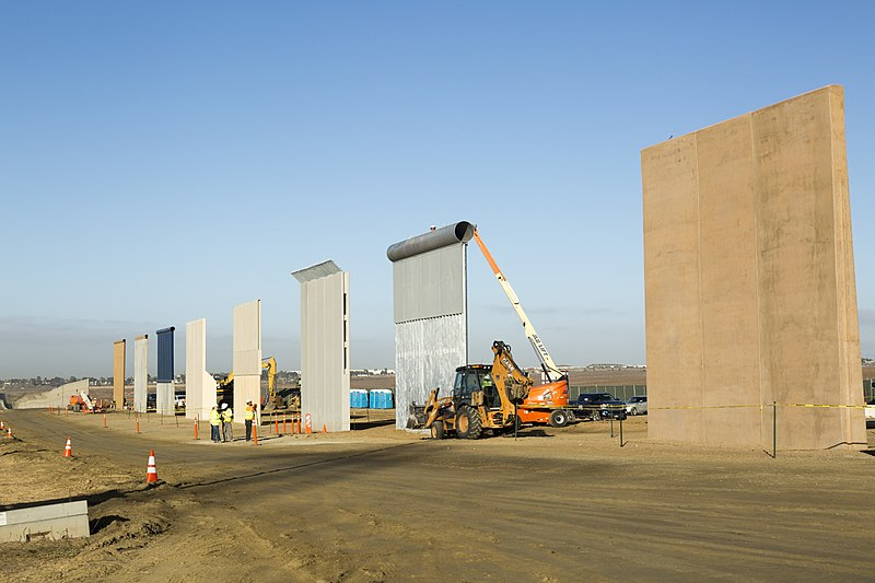 Border wall prototypes being built along the San Diego-Mexico border after the national emergency was called.