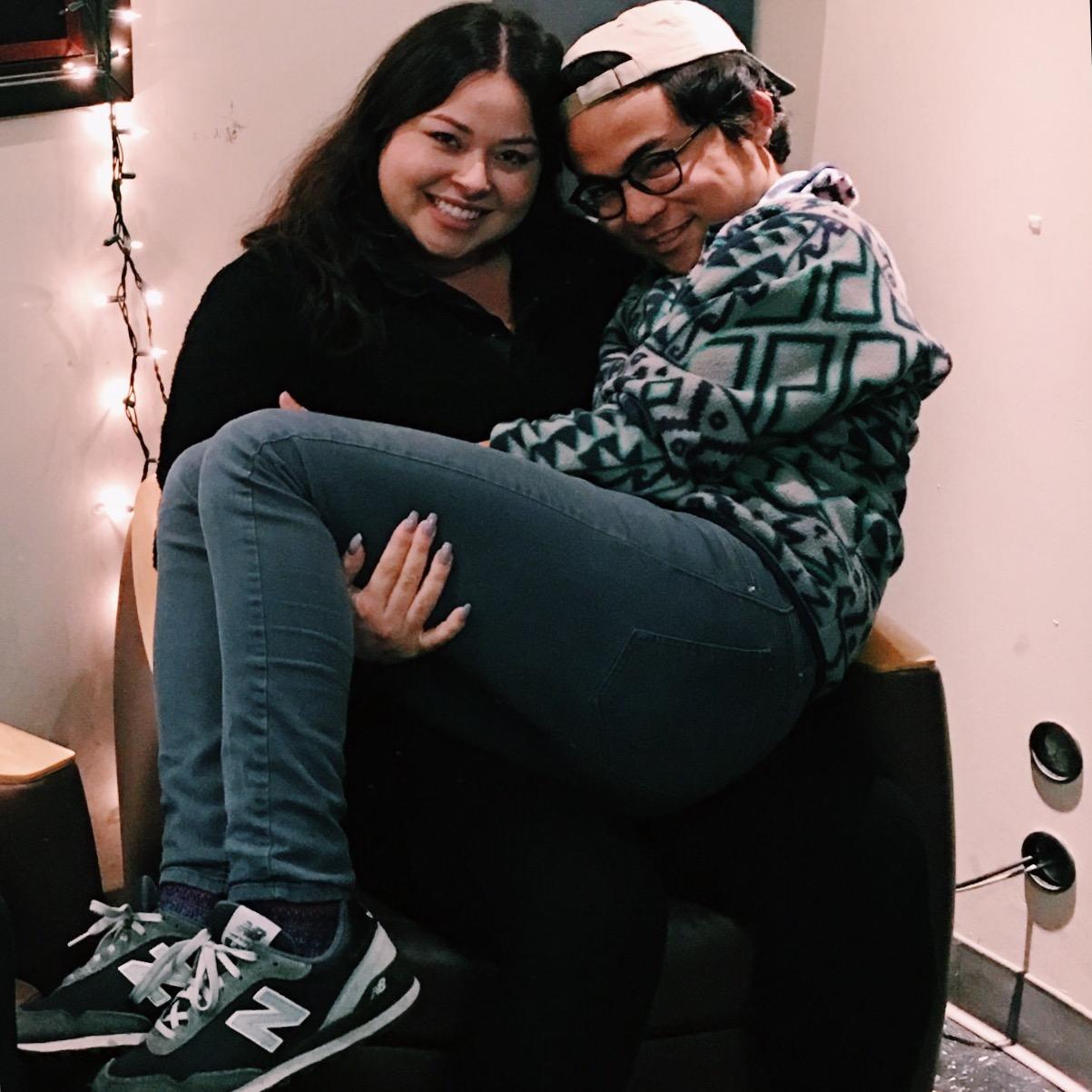 Daisy and Tony posing in the KCR studio.