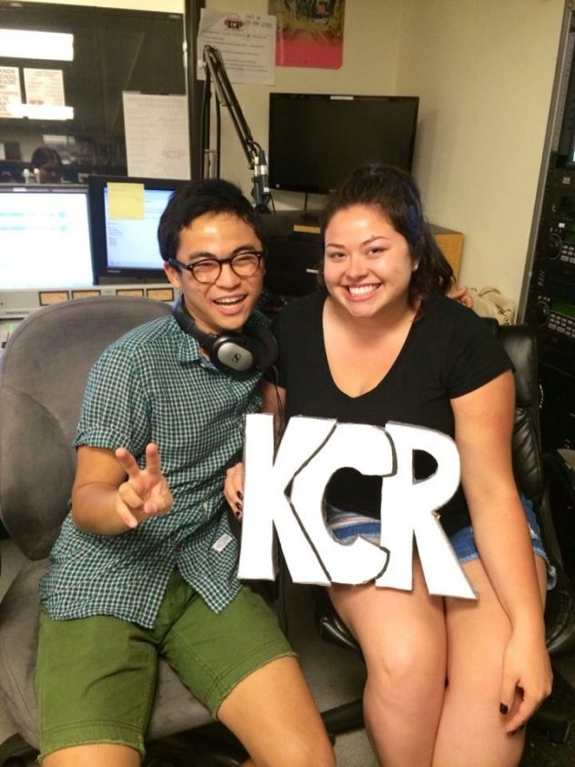Tony and Daisy with the KCR letters in studio.