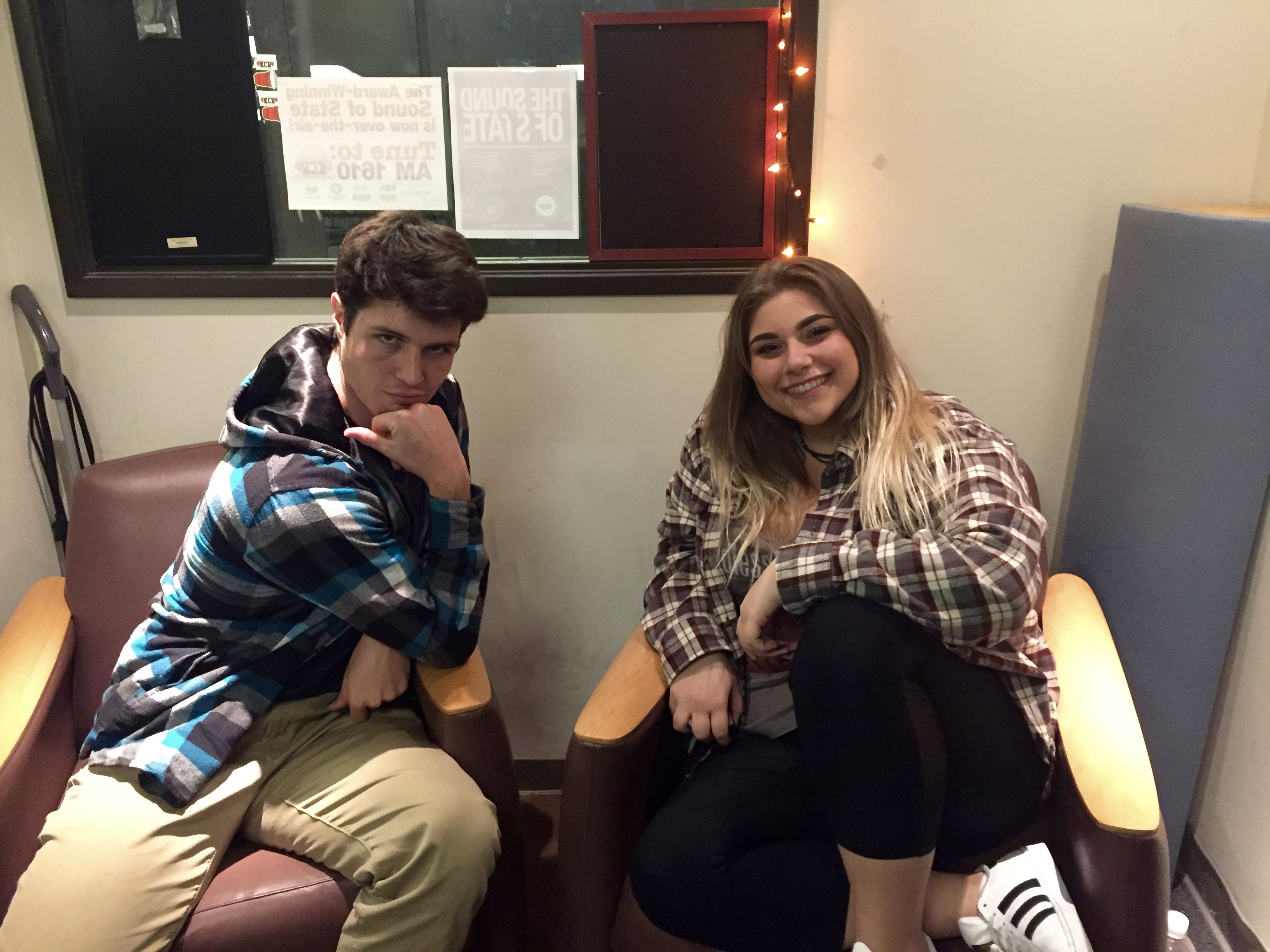 Jack and Tessa sitting in the KCR Studio.