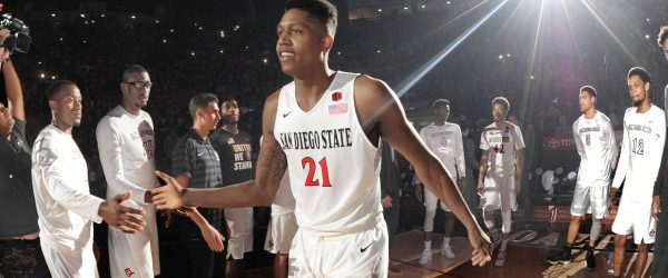 Aztecs senior Malik Pope takes the court against Fresno State. Photo Credit: GoAztecs.com (Ernie Anderson)