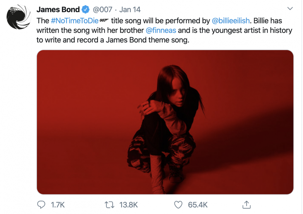 "Screenshot of tweet from 007 twitter account stating that Billie Eilish will be performing ""No Time To Die"" as the theme song for the next 007 movie."