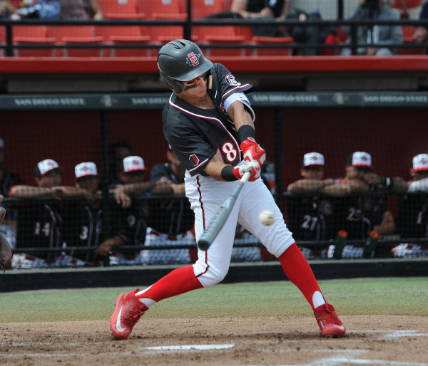Tyler Adkison of SDSU baseball swings away (GoAztecs.com)